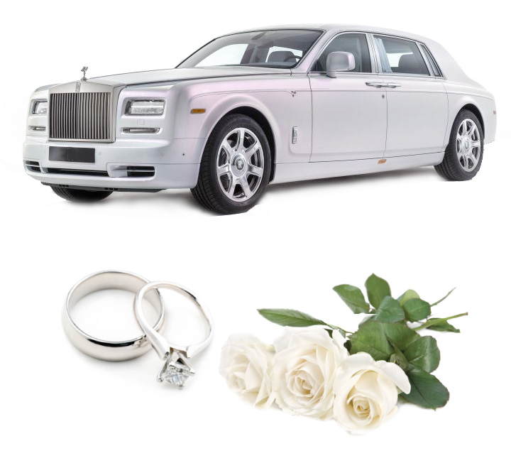 Rolls Royce Phantom White Wedding Car